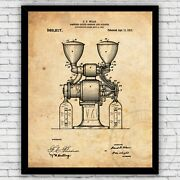 Double Coffee Grinder Cleaner Machine Patent Art Print - Size And Frame Options