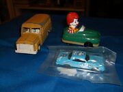 Collectible Small Toy Lot-tootsie School Bus, Hot Wheel 64 Plymouth And A Ronal