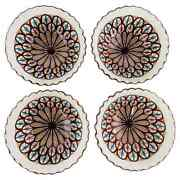 Vintage Handmade Moroccan Ceramic Large Bowl In White And Brown, A Set Of Four