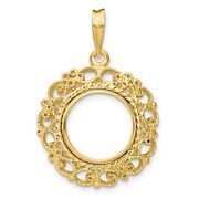 14k Yellow Gold Victorian Filigree Coin Bezel Prong Mounting - For Various Coins