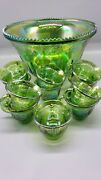 Vintage Grape Punch Bowl And 11 Cups Iridescent Carnival Depression Glass 0001