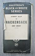 Vintage Hagstrom Black And White Series Street Map Of Hackensack New Jersey Nj