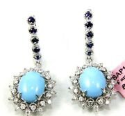 Natural Oval Turquoise And Diamond Drop Ladyand039s Earrings 14k White Gold 7.31ct