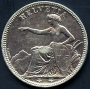 1850 'a' Switzerland 5 Franc Silver Coin 25 Grams .900