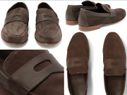 John Lobb Hendra Leather Suede Penny Loafers Slippers Shoes Slip On Shoes 41.5