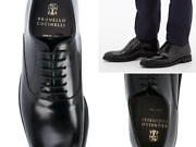 Brunello Cucinelli Leather Lace-up Oxford Vibram Almond Toe Derby Shoes New 44
