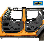 Eag Military Steel Tube Door With Mirror Pair Fit For 18-21 Jeep Jl Wrangler 4dr