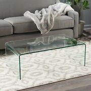 Noble House Glass Coffee Table Roman Tempered Clear
