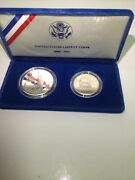 Nice 1986 Proof Statue Of Liberty 2 Coin Silver Dollar And Clad Half Us Mint Set
