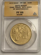 1970 Chad Gold Coin Anacs Graded Pf66 Dcam 5000 Francs Pf 66 1941 Leclerc 10th A