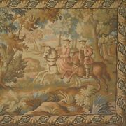 Vintage French Tapestry, Hunting Scene, Wild Boar, Dogs, Horses, Chateau