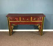 Antique Chinese Lacquered 3 Drawer Console Hunt Table