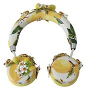 Dolce And Gabbana Headphones Leather Yellow Lemon Crystal Floral Headset Audio