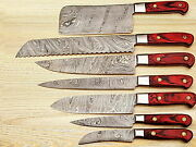 High Quality Hand Forged Damascus Steel Chef Knives Set With Frost Wood Handle