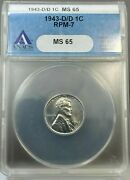 1943-d/d 1c Lincoln Steel Cent Anacs Ms65 Repunched Mint Mark Rpm-7