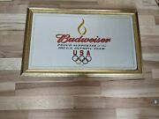 Vintage Anheuser Busch Budweiser Beer 2002 Olympic Mirror Sign