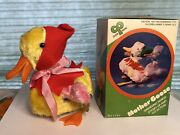 Vintage Clock Work Mother Goose Swinging Wings Stand Up + Go Action Wind Up Toy