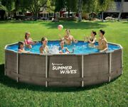 Summer Waves 14and039x36 Wicker Print Metal Frame Pool And Filter Pump