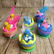 6 Vintage Chenille Easter Chicks With Feathers In Glitter Styrofoam Eggs Taiwan