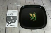 Couroc Frogs Dancing Tray Monterey Of Ca Inlaid Wood Brass 8 1/2