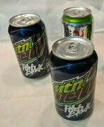 3 Empty Mountain Dew Pitch Black Diet Coke Lime Collector Soda Cans