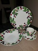 Tienshan Raspberry Social Dinner 1 Set Plate Bowl Cup And Saucer - 4 Available
