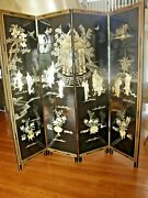 Chinese Four Panel Coromandel Black Laquered Screen With Mother Of Pearl Inlay