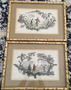 Antique Hand-colored J Pillement Chinoserie Framed Engraving Prints Lot Of 2