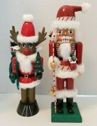 Vintage Wooden Santa And Rudolph Nutcrackers From Bombay Co. Great Condition