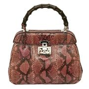Lady Lock Bamboo 331830 Python Leather Top Handle Hand Bag Purse Pink