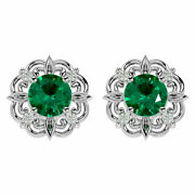14k Gold 1 3/4 Carat Emerald And Diamond Antique Earrings- In 3 Gold Colors