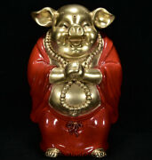10 Yongzheng Marked China Red Porcelain Gilt Animal Pig People Figure Statue