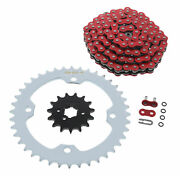 Red O-ring Chain And Silver Sprocket 15/40 102l 2012 2013 Yamaha Yfm350 350 Raptor