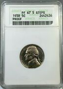 1938 5c Proof Jefferson Nickel Anacs Pf67 Old Holder Nice Coin