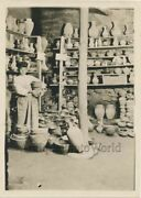Armenia Boy In Pottery Shop With Ceramic Jugs Antique Photo