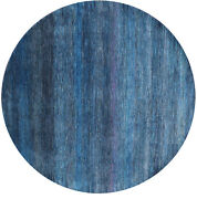 7and039 Round Wool And Silk Hand-knotted Super Savannah Gabbeh Rug - Q6875