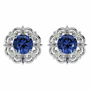 14k Gold 1 3/4 Carat Tanzanite And Diamond Antique Earrings- In 3 Gold Colors