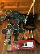 Rock Band Lot Playstation 3 Lot Wired Drums, Guitars, Keyboard, Games Ps3