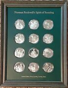 Norman Rockwelland039s Spirit Of Scouting Sterling Silver 2 Coin Set / Coa 1972