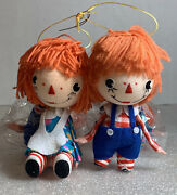 Vintage 2 Pair Raggedy Ann And Andy Christmas Ornaments Sets Japan