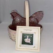 Longaberger Pink Chicken Candy Dish And Small Oval Easter Basket 2002 With Coa