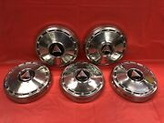 Vintage Set Of 5 1964-65 Plymouth 9andrdquo Dog Dish Hubcaps Barracuda Valiant Gc