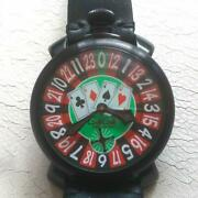 Gaga Milano Las Vegas 5012 Men's Watch Leather Hand-winding Red Excellent+++