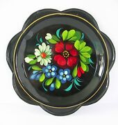 Russian Lacquer Art Metal Dish Plate Vtg Scalloped Edge Black 7 Floral