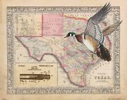 Vintage Wood Duck Hunting Texas State Map Print Calls Decoys Cabin Wall Decor