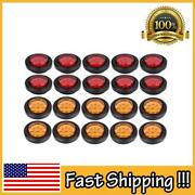 20x Amber/red 2 Round 9 Led Clearance Marker Accent Light W/grommet Universal