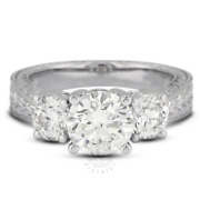1.34 Ct E-vs2 Round Natural Diamonds 18k Gold Vintage Style Engagement Ring