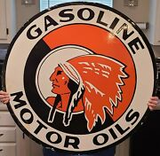 Porcelain Red Indian Gasoline Motor Oil Sign Size 36 Round Double Sided