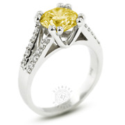 1.25 Ct Yellow Si3 Round Earth Mined Certified Diamonds 14k Gold Side-stone Ring