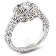 2.30ct Tw H-si2 Round Natural Certified Diamonds 14k Gold Halo Side-stone Ring